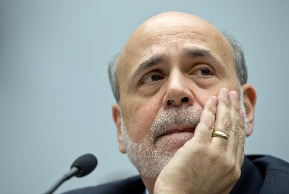 Federal Reserve chairman Ben Bernanke listened to questions during his second day of testimony Wednesday.