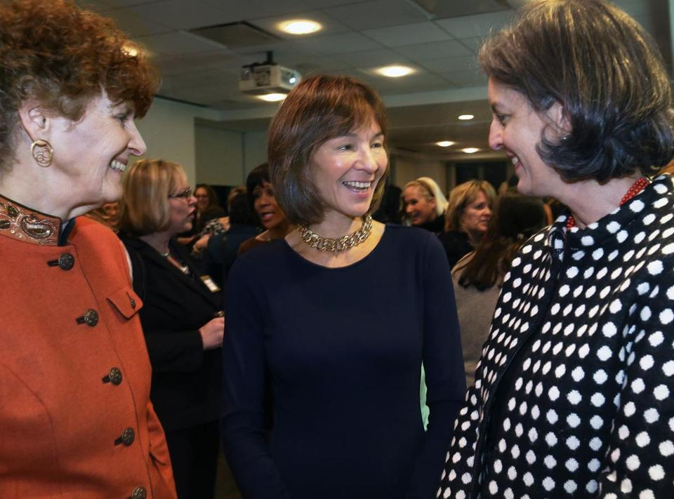 From left: Michelle Whitman, Laura Sen, and Heather Campion at this week's meeting of the Massachusetts Women's Forum.