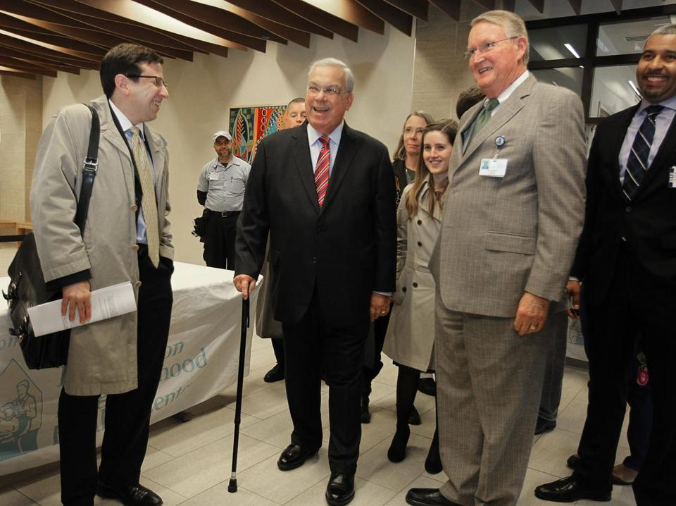 Mayor Thomas M. Menino, still reovering from a series of medical problems, attended the opening of the Market Cafe in the East Boston Neighborhood Health Center Wednesday.