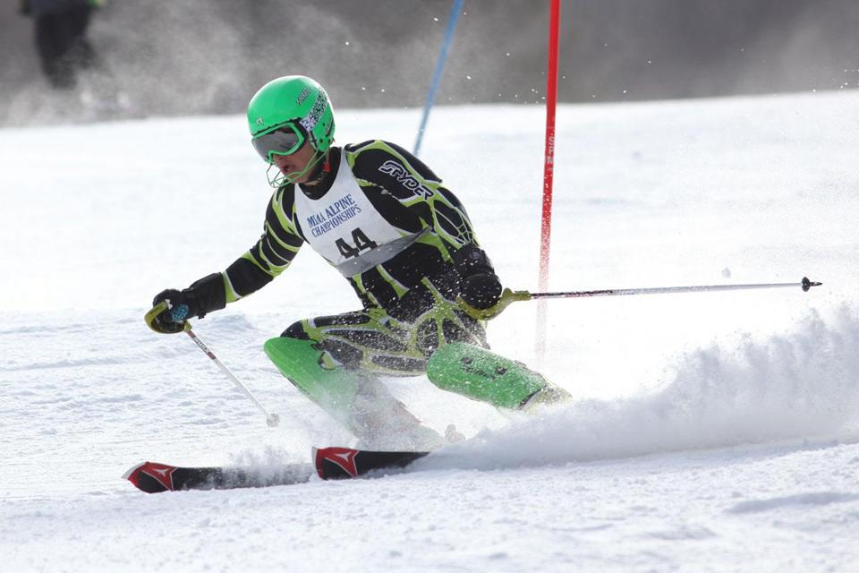 Jack Carmone of Xaverian competes in the slalom at Berkshire East. He tied for 10th.