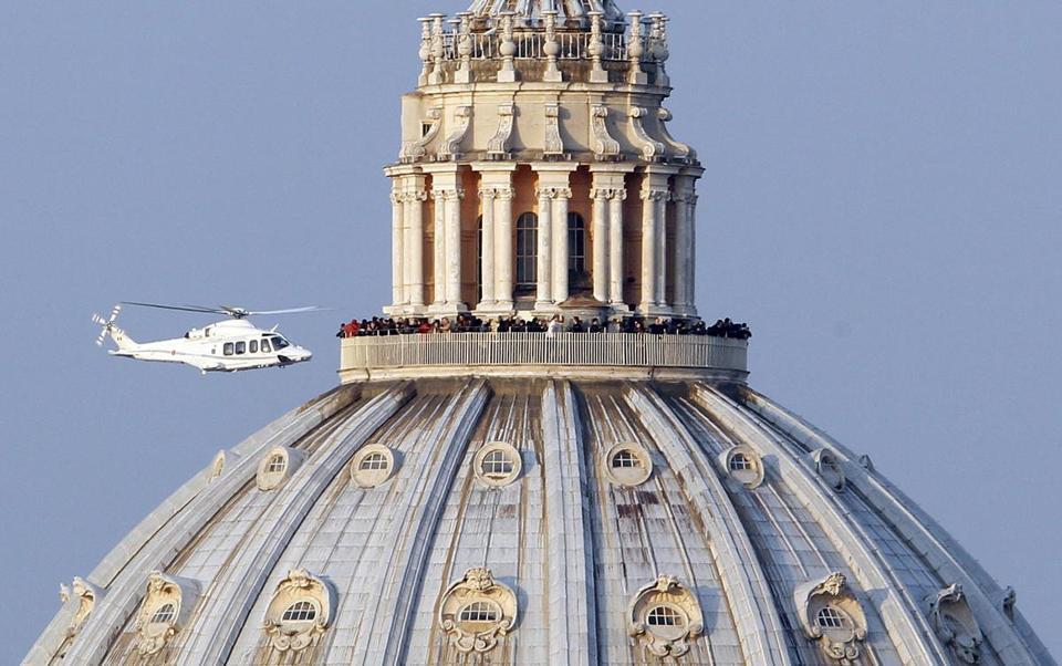 A helicopter carrying Pope Benedict XVI took off from inside the Vatican on its way to the papal summer residence.