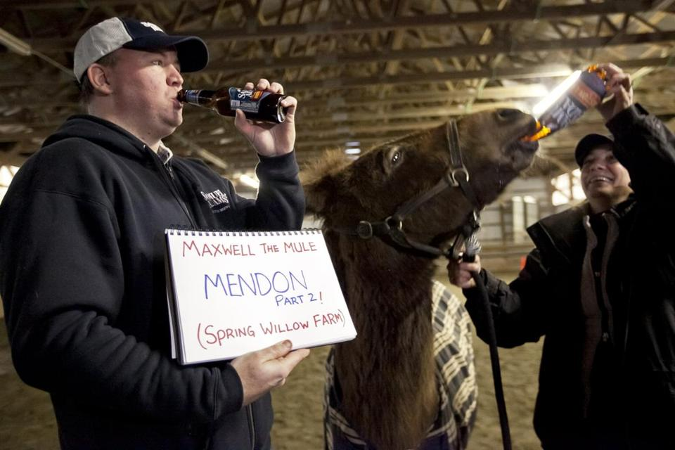 Todd Ruggere posed with a sign displaying the name of the town and place where he is sharing a beer with Maxwell House the mule. Julie Blackburn  a horseback riding instructor and donor for Ruggere's cause gave Max an iced tea.