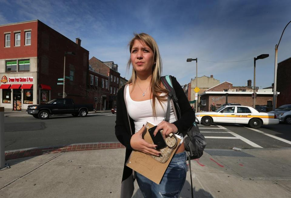 Maria Vargas, a senior at East Boston High School, said she avoids walking around late at night. Vargas tries to use the public transportation system, get a ride from a friend, or hail a cab.