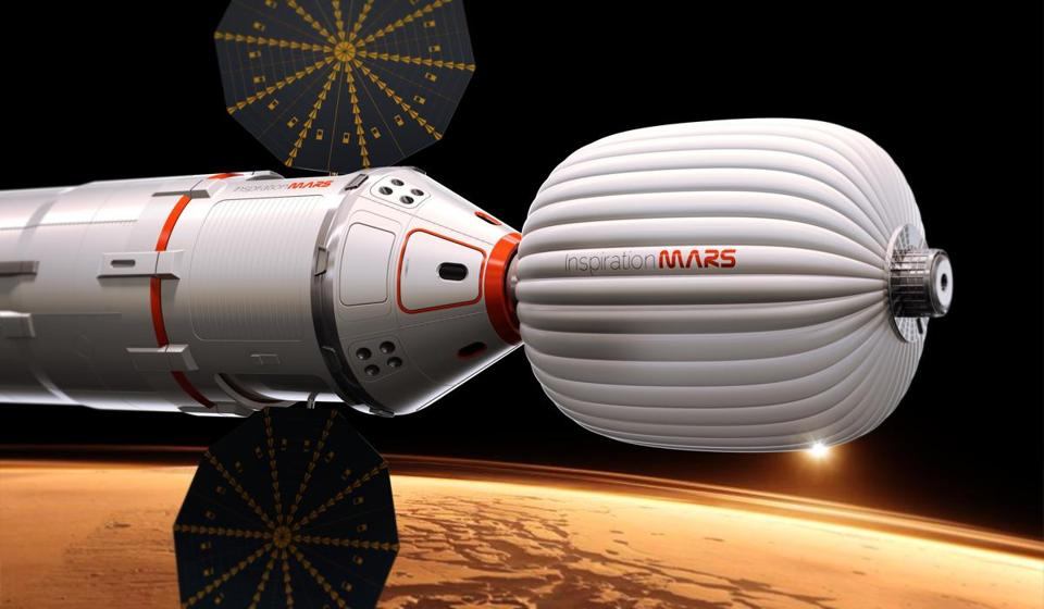 An artist's conception of a spacecraft that will carry a married couple on a mission around Mars.