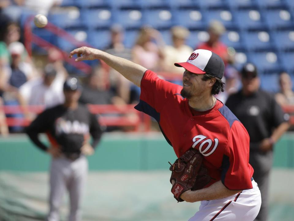 Nationals free agent acquisition Dan Haren made his spring training debut and struggled in the first inning against the Marlins.