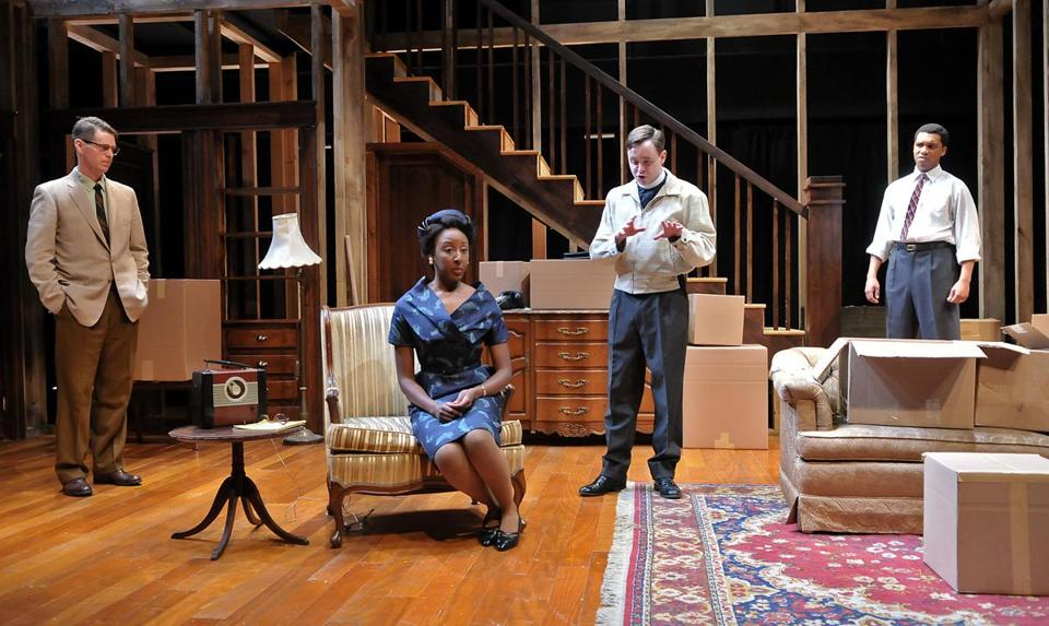 "From left: Michael Kaye, Marvelyn McFarlane, Tim Spears, and DeLance Minefee in the SpeakEasy Stage Company's production of Bruce Norris's play ""Clybourne Park,"" at Roberts Studio Theatre, Boston Center for the Arts."