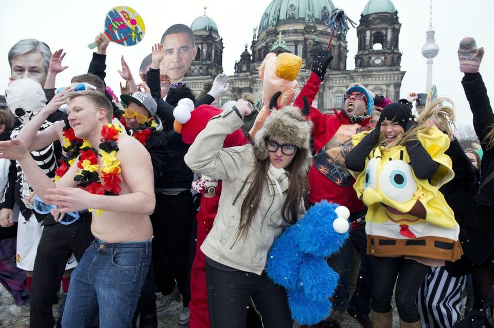Flash-mob dancers do the Harlem shake in Berlin last week.