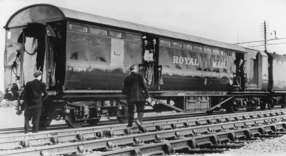A gang of 15 men stopped a Glasgow-to-London mail train and hauled off about 2.6 million pounds, the equivalent of about $60.5 million today.