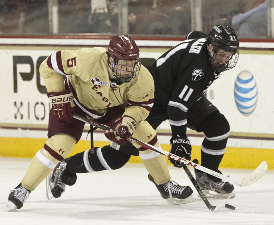 Machel Matheson and the BC Eagles and Tim Schaller and the Providence College Friars are both in the running for the Hockey East crown.