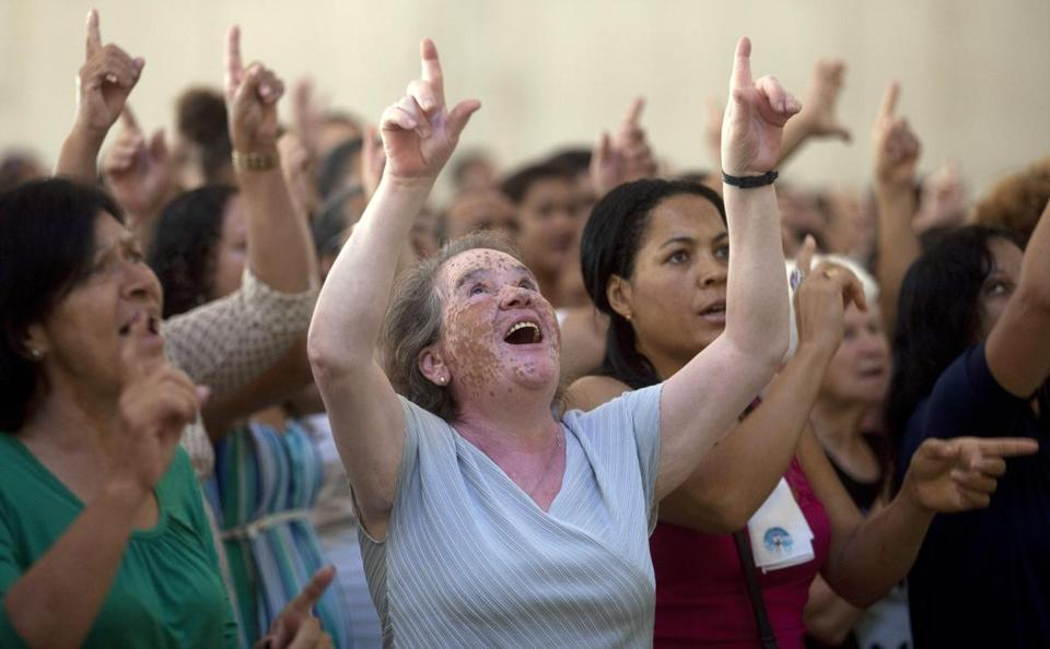 Roman Catholics prayed during a music-filled Mass at the Mother of God sanctuary in Sao Paulo, Brazil, on Sunday.