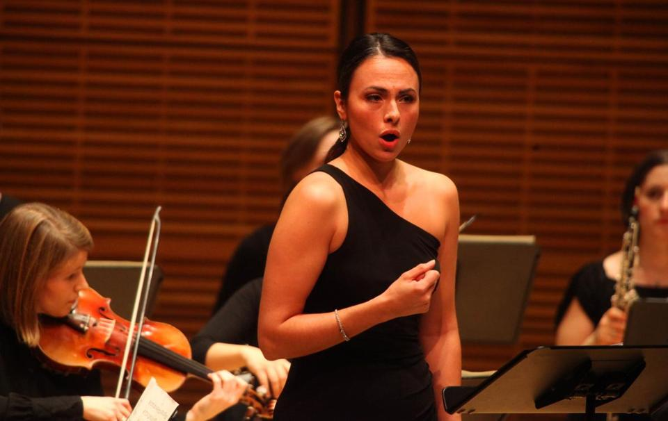 Isabel Leonard (pictured performing in New York City), directed individual songs to different sides of the Gardner Museum's Calderwood Hall on Sunday.