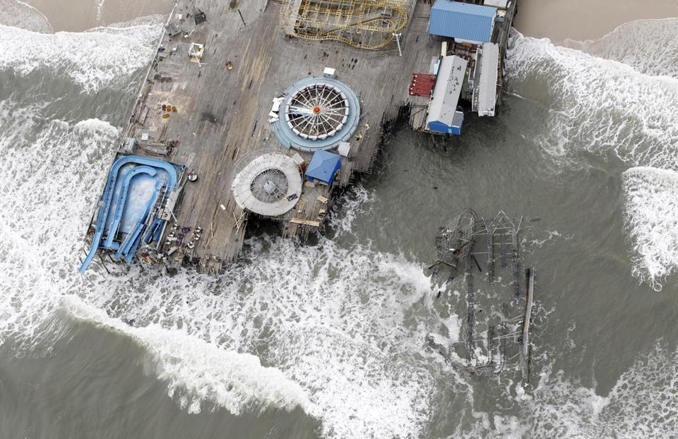 The Casino Pier in Seaside Heights, N.J. was badly damaged by Hurricane Sandy.