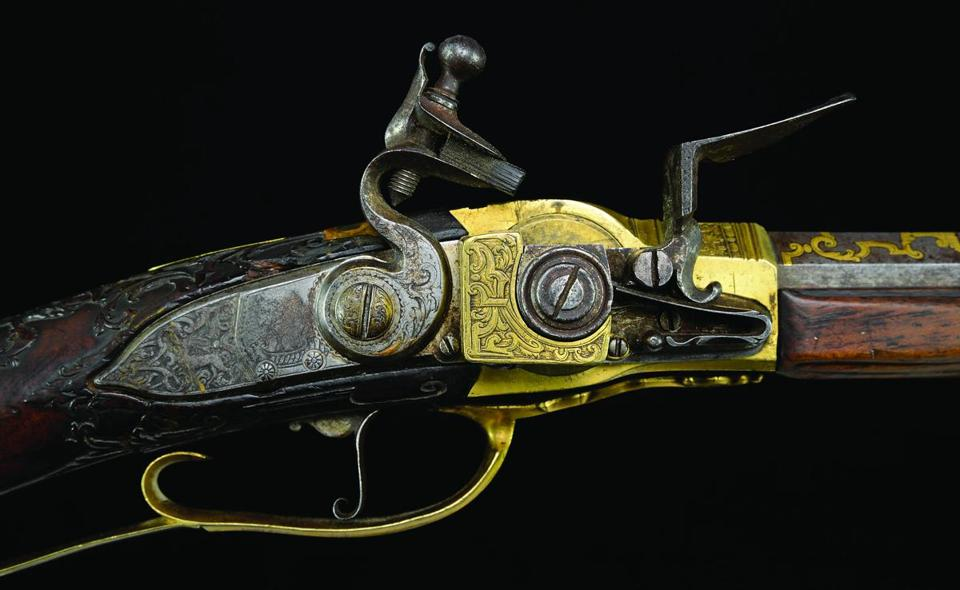 "Circa 1735 flintlock presented to King Louis XV of France and bearing his personal cipher, a crowned ""L"""