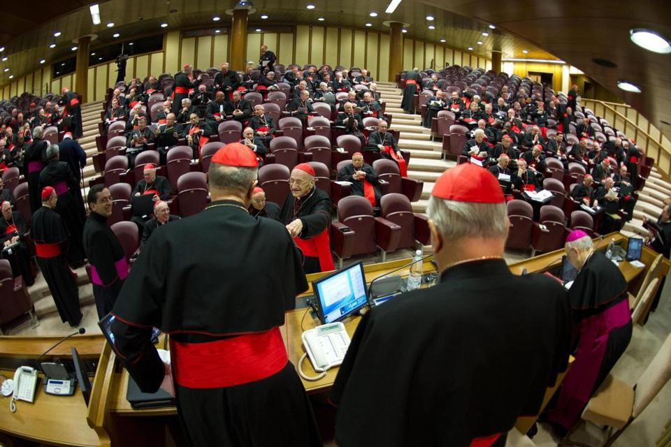 Most of the Catholic Church's cardinals, in Rome to elect a new pope, attended a meeting in the Vatican on Monday.
