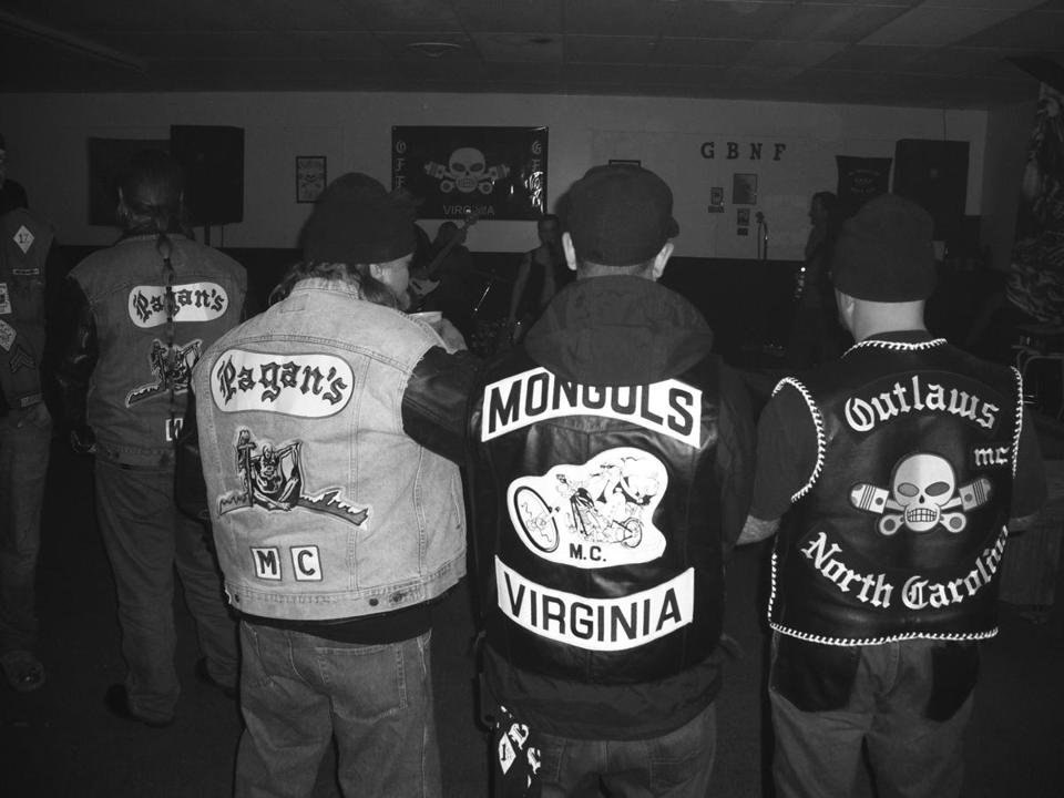 "A party at a clubhouse in Petersburg, Va., included members of gangs examined in Charles Falco's ""Vagos, Mongols, and Outlaws: My Infiltration of America's Deadliest Biker Gangs."""