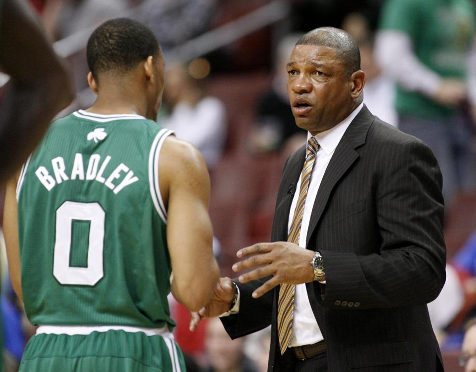 Doc Rivers conferred with Avery Bradley during Tuesday's game.