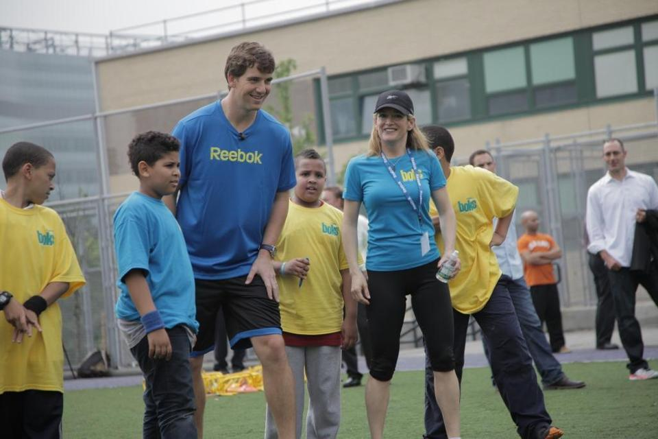 New York Giants quarterback Eli Manning was expected to join Reebok's announcement event on Friday in Washington.