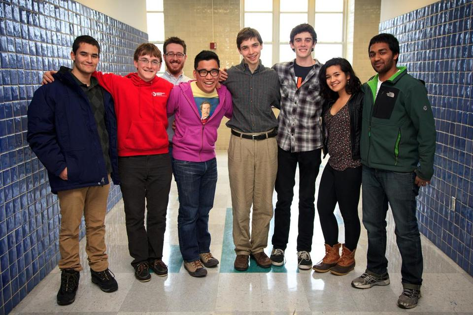 From left: Jonathan Eber, Noah Krawitz, physics teacher and team coach Tyler Wooley-Brown, Joon Lee, Benjamin Doughty, Ben Eggleston, Natalie Janes, and Vikram Mahadevan.