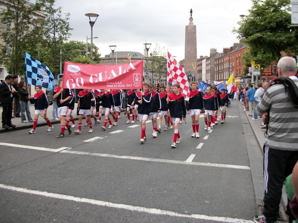 Young hurlers from the Cuala club parade in Dublin to help launch the GAA's 2012 Hurling Feile, a national tourney.