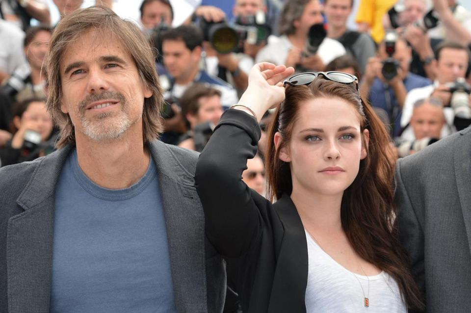 """On the Road"" director Walter Salles and Kristen Stewart at the Cannes festival last May."