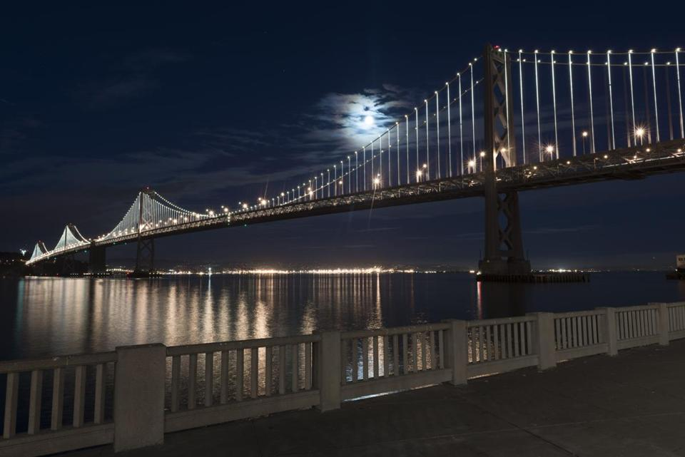 The Bay Bridge in San Francisco with its new look, courtesy of Philips Color Kinetics.