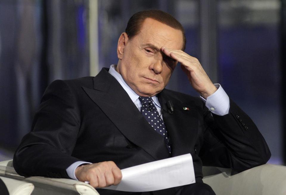 Italy's former Prime Minister Silvio Berlusconi gestured on a television show in Rome.