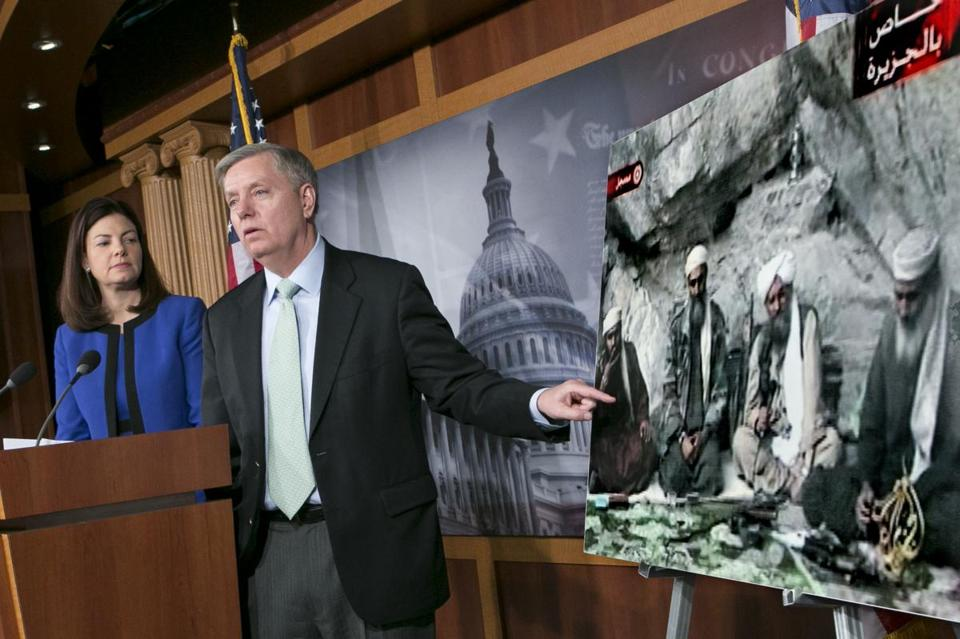Senator Lindsey Graham, accompanied by Senator Kelly Ayotte, spoke to reporters on Thursday about the capture of Osama Bin Laden's son-in-law.
