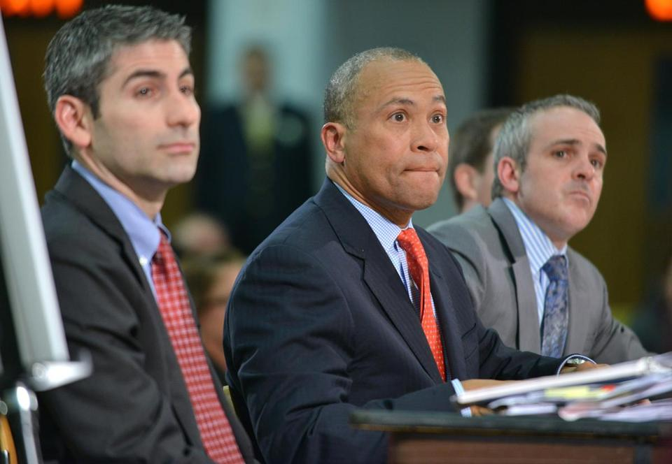 Governor Deval Patrick testitifed at a March state budget hearing with Secretary Administration and Finance Glen Shor (left) and Secretary of Education Matt Malone.