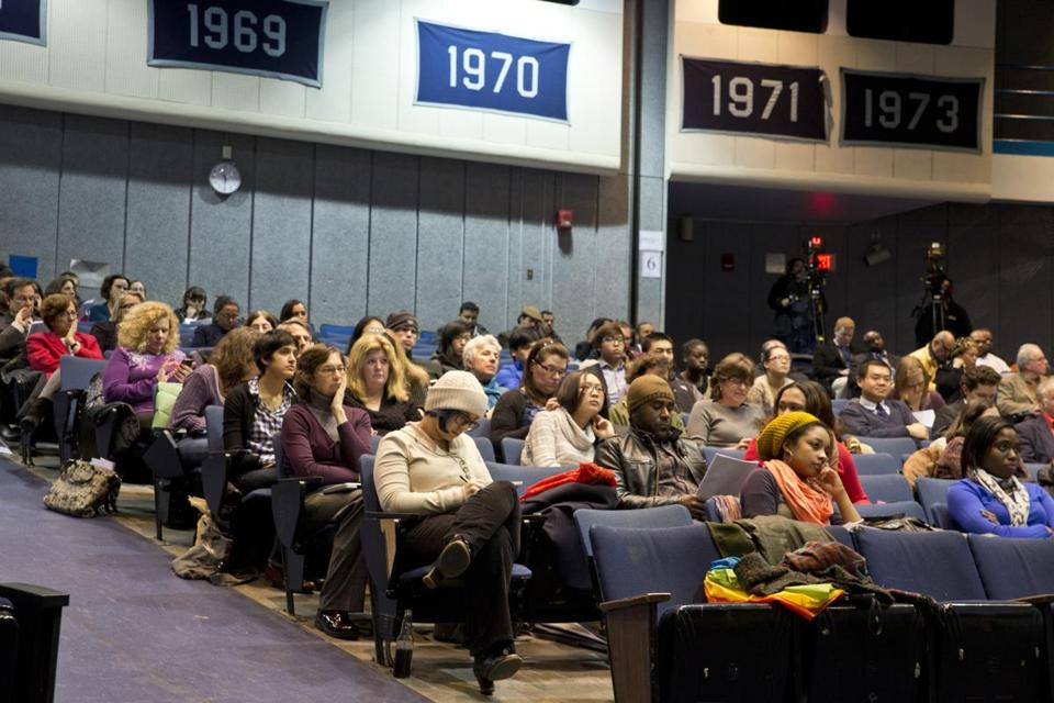 More than 150 parents, students, and politicians attended the Boston School Committee public meeting at English High School March 7 on the new student-assignment plan.