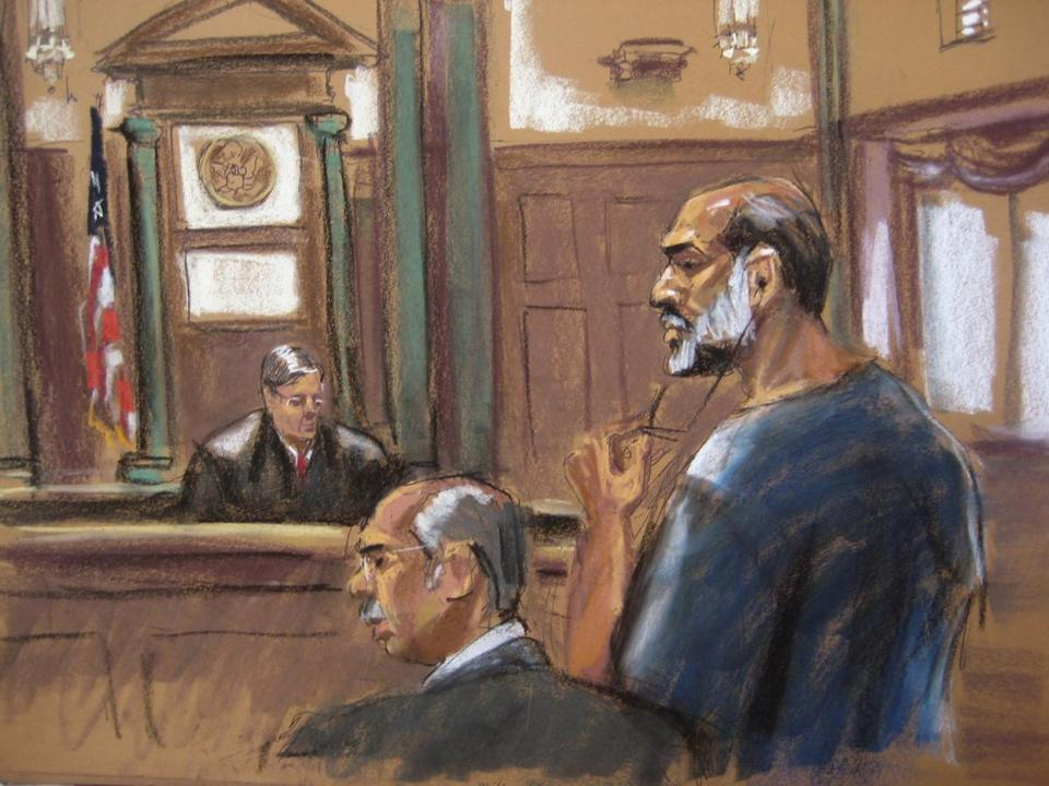 An artist sketch showed Sulaiman Abu Ghaith appearing before Judge Lewis Kaplan at US District Court in Manhattan Friday.