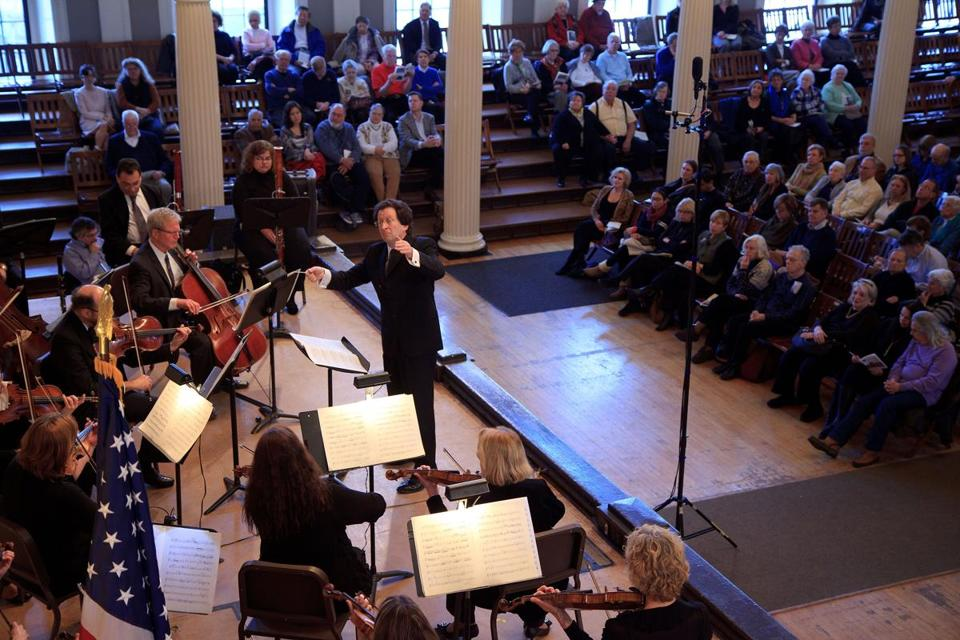 The Boston Classical Orchestra, led by Steven Lipsitt, performing at Faneuil Hall on Sunday.
