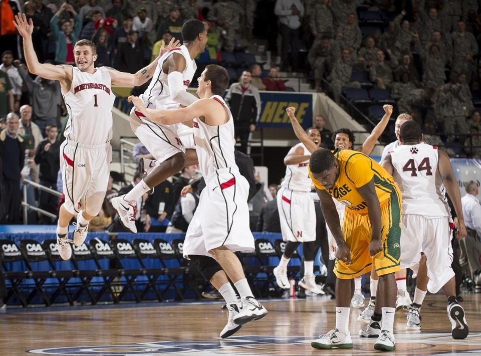 After NU failed to score for the first 9:34 of the game, Chris Avenant (1) and his teammates were sky high at the finish.