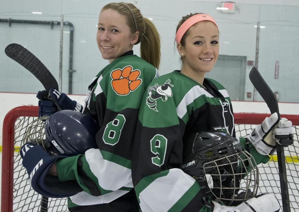 Sophomores Nora Maclaine and Victoria O'Heir have helped turn the tide for the Mansfield-Oliver Ames co-op girls' hockey team.