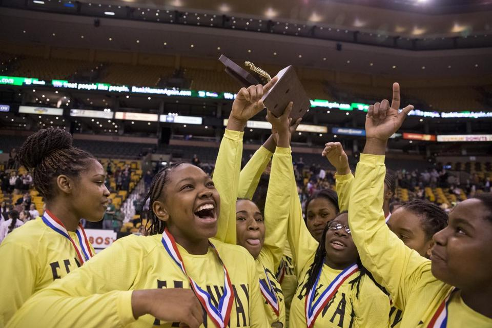 Fenway High players celebrated their victory over Greater New Bedford High's Sydney Mota during the MIAA Division 4 State Semi-Final at TD Garden on Monday.