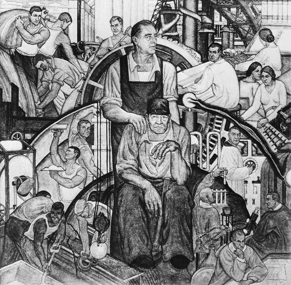 "A detail of a mural fresco titled ""The New Deal"" on display in New York City."