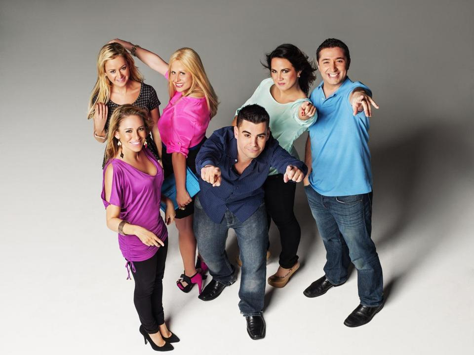 "From left: Rachel, Chrissy, Nikki, Chubs, Chelsi, and Joe have their Bostonian party moves down in ""Wicked Single.''"
