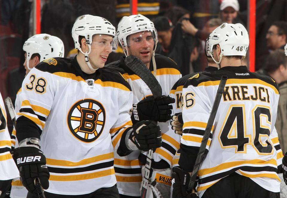 David Krejci was congratulated after his game-winning shootout goal.