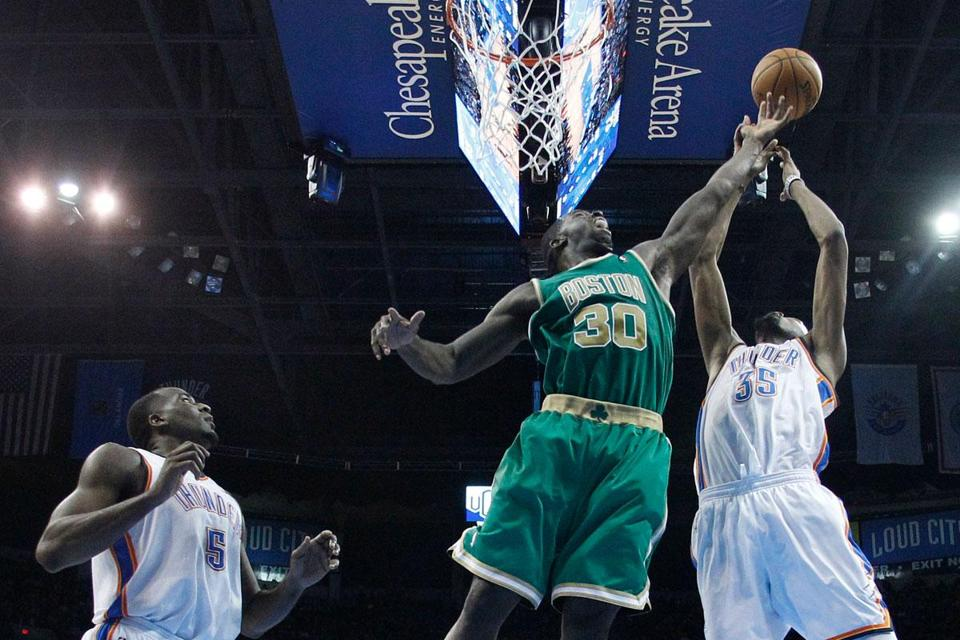 Celtics forward Brandon Bass pulled down a career-high-tying 13 rebounds in a 91-79 loss to the Thunder.
