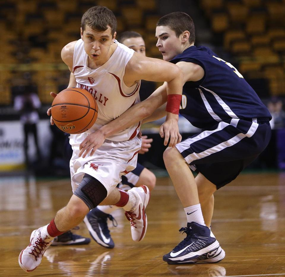Thomas Keyes (left) scored 26 points to lead Bishop Connolly to its first boys' state basketball title.