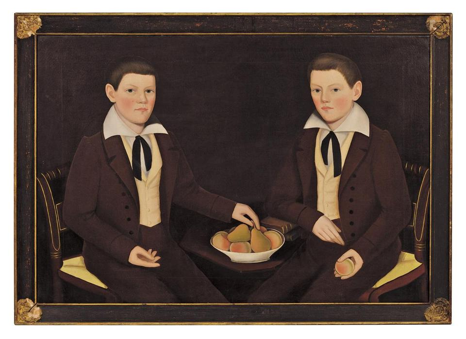"Top seller at Skinner's auction of the late Andy Williams's folk art collection was Ammi Phillips's double portrait of the Ten Broeck twins, Jacob Wessel and William Henry, that sold for $750,000 against a $300,000-$500,000 estimate. Late-19th-century molded painted copper leaping stag weather vane by Cushing & White of Waltham went for $13,000 (against a $5,000-$7,000 estimate). James Bard's portrait of the side-wheeler steamboat Neversink brought $90,000 (against $50,000-$75,000). ""Circle,"" an acrylic on canvas of brilliantly colored concentric circles by Kenneth Noland (1924-2010) is from Williams's collection of postwar and contemporary art to be auctioned May 15-16 by Christie's. The painting's estimate is $900,000-$1.2 million. Below: Highlighting the impressionist and modern art from Williams's collection to be auctioned by Christie's on May 8-9 is ""Composition,"" Pablo Picasso's 1927 oil on canvas of a surrealistic feminine figure ($800,000-$1.2 million estimate). This first-phase chief's wearing blanket, the rarest type of Navajo blanket, is expected to bring $200,000-$300,000 at Sotheby's May 21 auction of Williams's Navajo blanket collection."