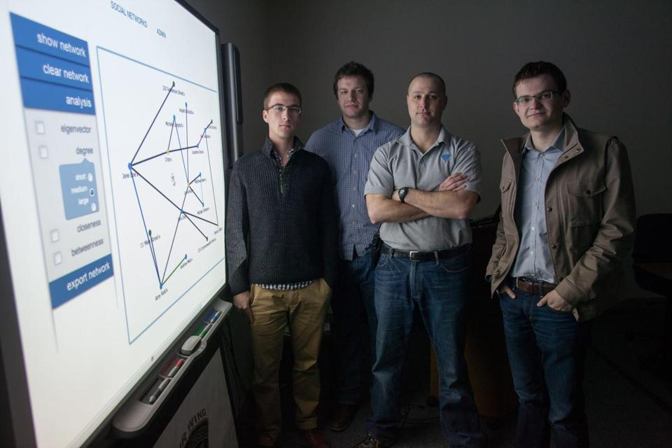Florian Mayr (left), Matt Polega, and Scott Crouch started Nucleik, which helps investigators like Stephen Gregorczyk (second from right).