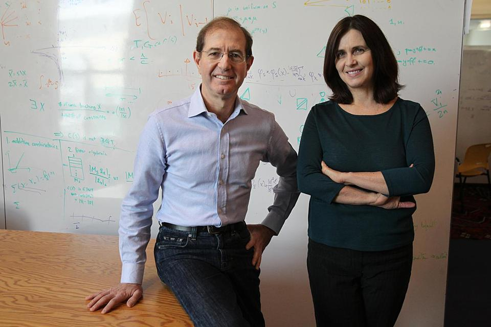 MIT professors Silvio Micali (left) and Shafi Goldwasser won the prestigious A.M. Turing Award for their pioneering work in data encryption to protect e-commerce from malicious hackers.