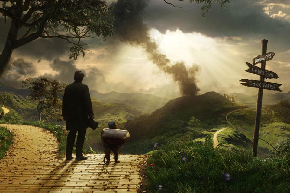 "James Franco (left) and Finley (voiced by Zach Braff) star in ""Oz the Great and Powerful,"" whose success may depend on social media."
