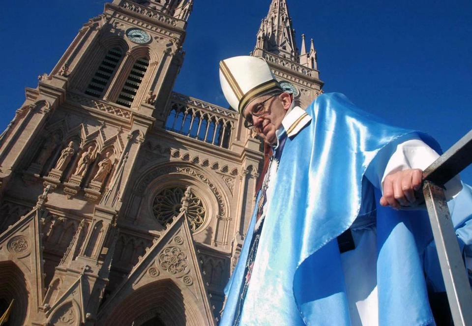 Jorge Mario Bergoglio, shown outside the Basilica of Lujan, has been criticized over his behavior during the former dictatorship in Argentina.