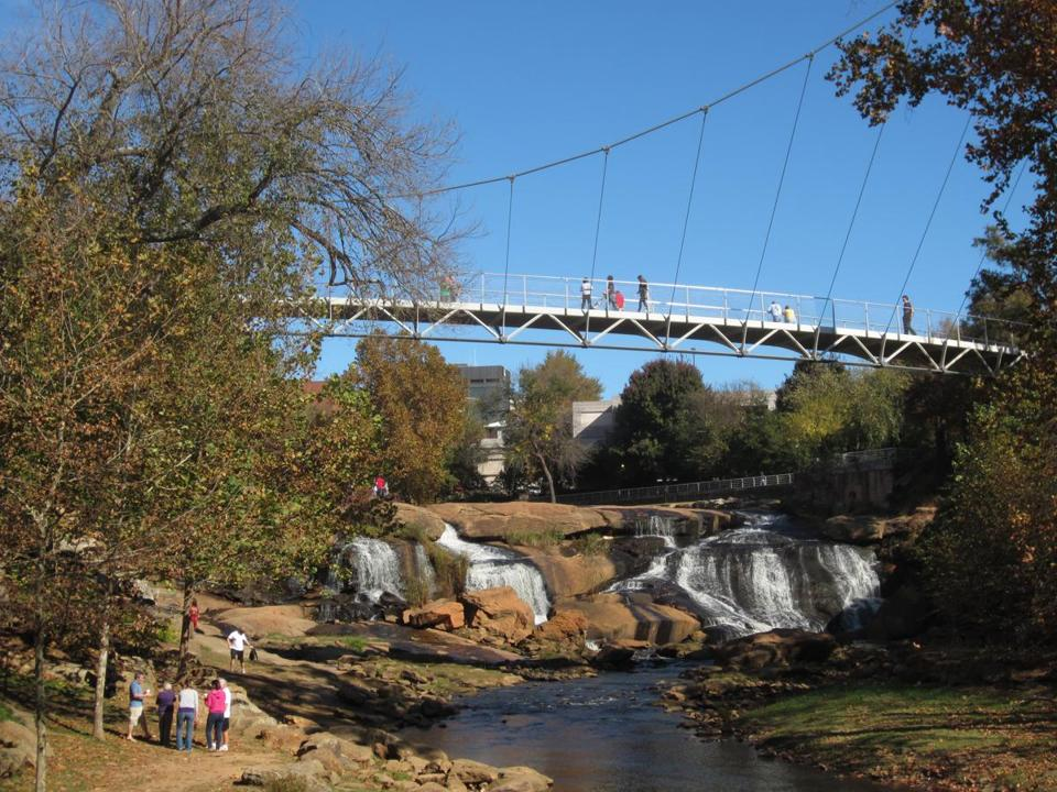 Liberty Bridge and Falls Park on the Reedy River in downtown Greenville, S.C.