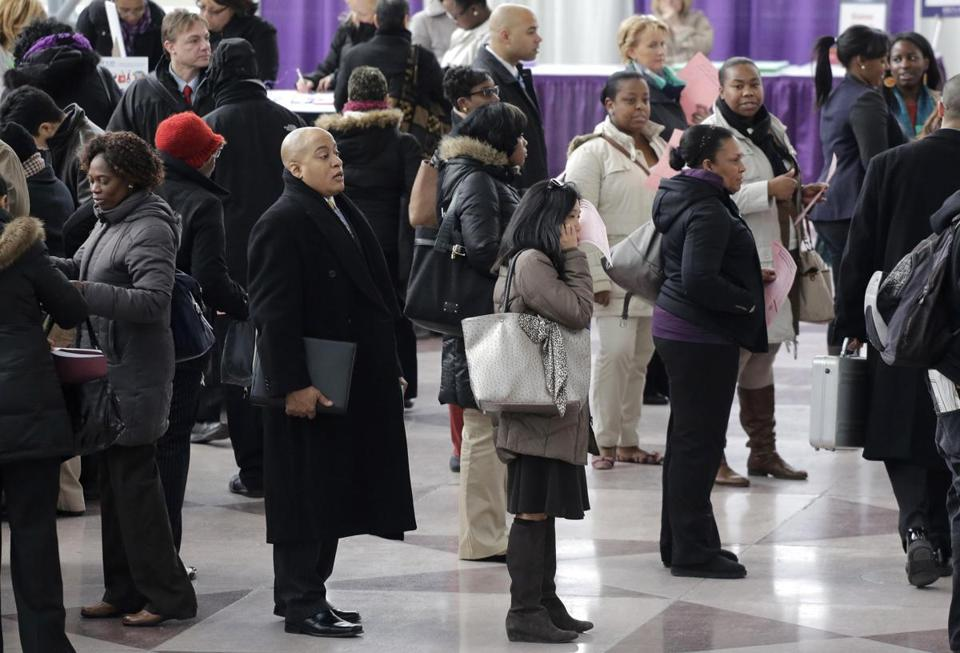 Job seekers in New York attended a health care job fair on Thursday. The number of applications for unemployment benefits has dropped five times in the past six weeks.