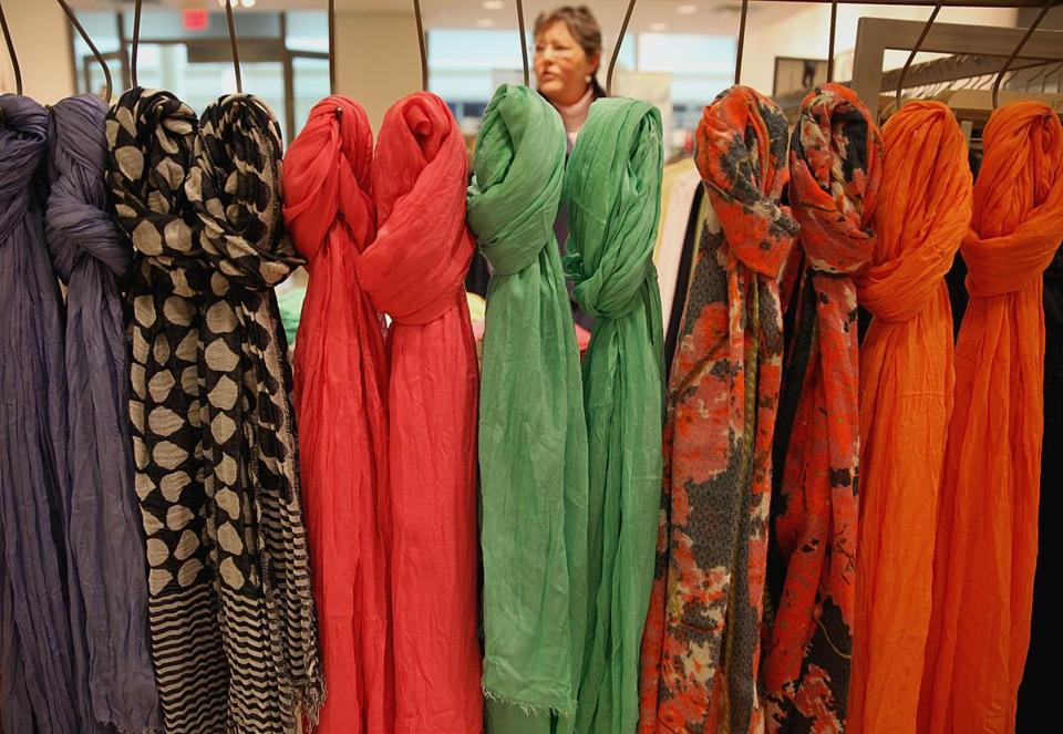 "Colorful scarves were on display at the J. Jill store at the Burlington Mall, where they are rolling out the ""Uncomplicate"" line for spring."