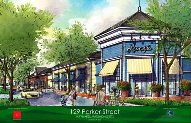 A rendering shows a proposed development in Maynard. which would include housing, shops, and two big-box stores.