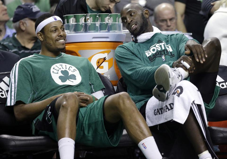 Paul PIerce, left and Kevin Garnett both hit milestones on Wednesday.