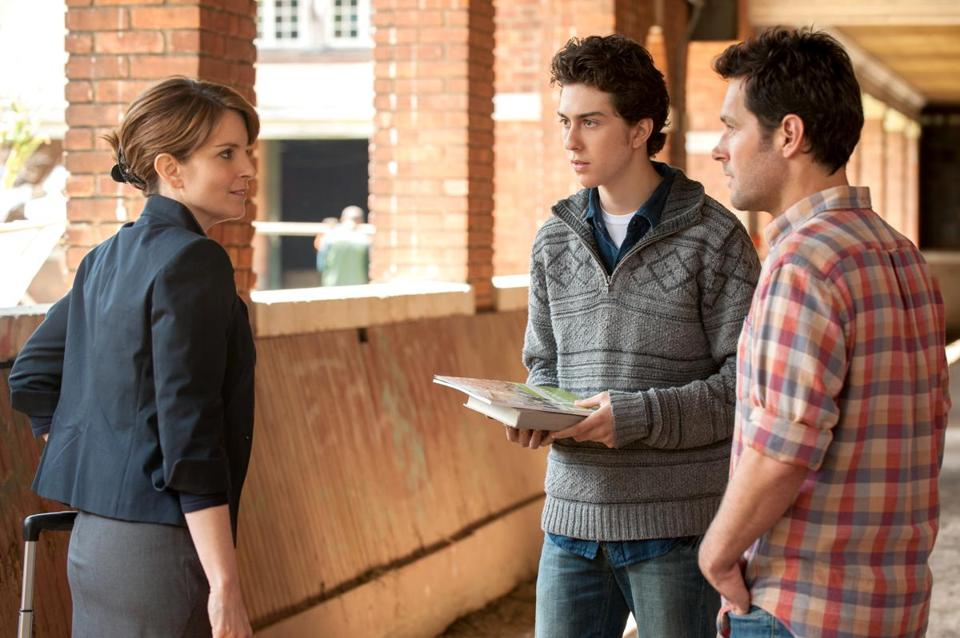 "Tina Fey is a Princeton admissions officer and Paul Rudd (right, with Nat Wolff) is director of a farm school in ""Admission."""